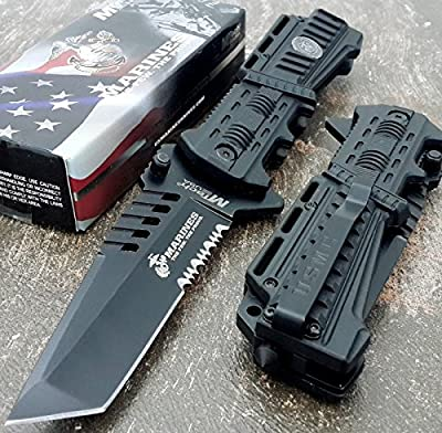 U.S. MARINES Knife Licensed USMC MARINES Assisted Military Knives BLACK Tactical Tanto Knife by SNAKE EYE TACTICAL :: Combat Knife :: Tactical Knife :: Hunting Knife :: Fixed Blade Knife :: Folding Blade Knife