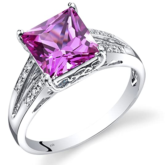 Revoni 14ct White Gold Created Pink Sapphire Diamond Ring Princess Cut 3.25 Carats Total