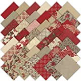 Moda French General Esprit de Noel Charm Pack, Set of 42 5-inch (12.7cm) Precut Cotton Fabric Squares