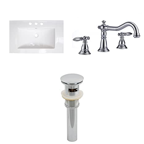 "Jade Bath JB-16702 32"" W x 18"" D Ceramic Top Set with 8"" o.c. CUPC Faucet and Drain, White"