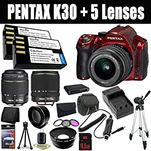 Pentax K-30 Weather-Sealed 16 MP CMOS Digital SLR (Red) with Pentax DA 18-55mm f/3.5-5.6 AL Weather Resistant Lens + SMC DA 18-135mm f/3.5-5.6 ED AL [IF] DC Weather Resistant+ SMC Pentax DA 50-200mm f/4-5.6 ED Zoom Lens+ Two D-LI109 Replacement Li-Ion Batteries + External Rapid Charger + 16GB SDHC Class 10 Memory Card +52mm Wide Angle / Telephoto Lenses + 52mm 3 Piece Filter Kit + Carrying Case + Full Size Tripod + Stepping Ring + Multi Card USB Reader + Deluxe Starter Kit DavisMax Bundle