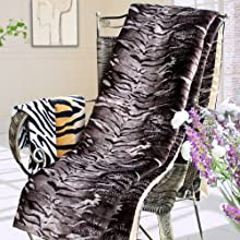 Blancho Bedding - Animal Tiger Brown Micro Mink Throw Blanket 145 OZ filling 50 by 70 inches
