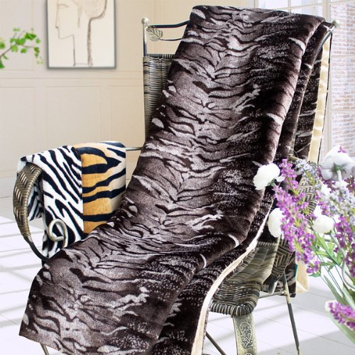 Blancho Bedding - [Tiger Brown] Micro Mink Fur Throw Blanket w/ 14.5 OZ filling (50 by 70 inches)