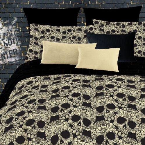 3 Pc Flower Skull Comforter Set Twin- Black Gothic Flower Bedspread Bedding Bed front-1027777