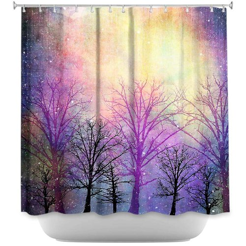 Shower Curtain Artistic Designer from DiaNoche Designs by Sylvia Cook Stylish, Decorative, Unique, Cool, Fun, Funky Bathroom - Trees