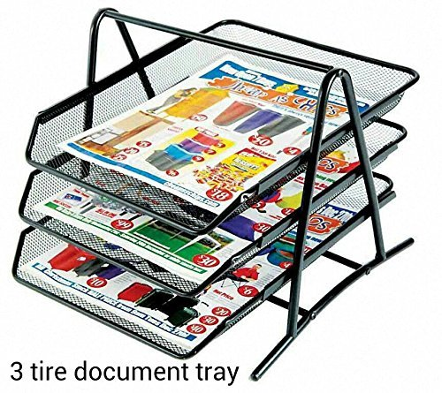 M&G 3 TIER MESH DOCUMENT / PAPER TRAY ORGANIZER, Black