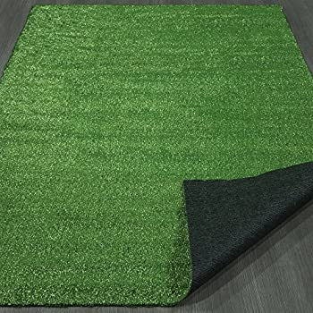 Ottomanson Evergreen Collection Indoor/Outdoor Green Artificial Grass Turf Solid Design Area Rug, 311 x 66