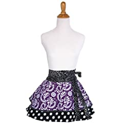 Lovely Aprons Womens Purple Paisley Half Apron