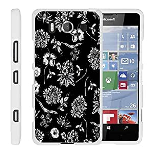Lumia 950, Perfect Fit Cell Phone Case Hard Cover with Cute Design Patterns for Microsoft Lumia 950 by MINITURTLE - Black White Flowers
