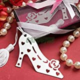 Cute Hollow Out High heeled Shoes White Tassels Pendant Design Bookmarks ECH