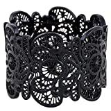 "D EXCEED Vintage Metal Lace Pattern Etched Filigree Crystal Stretch Bangle Bracelet For Women On Sale, 7"""