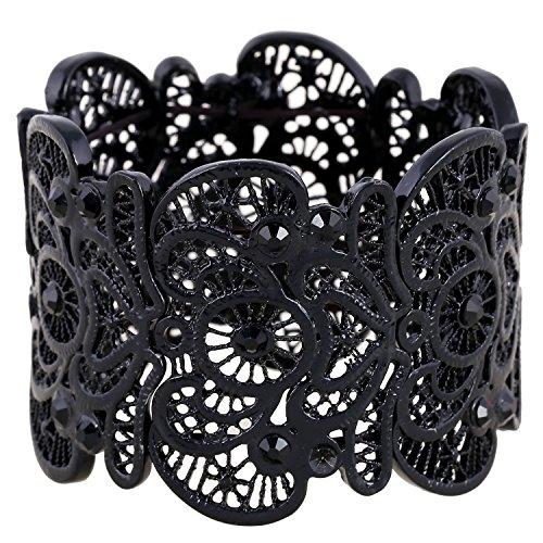 D-EXCEED-Vintage-Metal-Lace-Pattern-Etched-Filigree-Crystal-Stretch-Bangle-Bracelet-For-Women-On-Sale-7