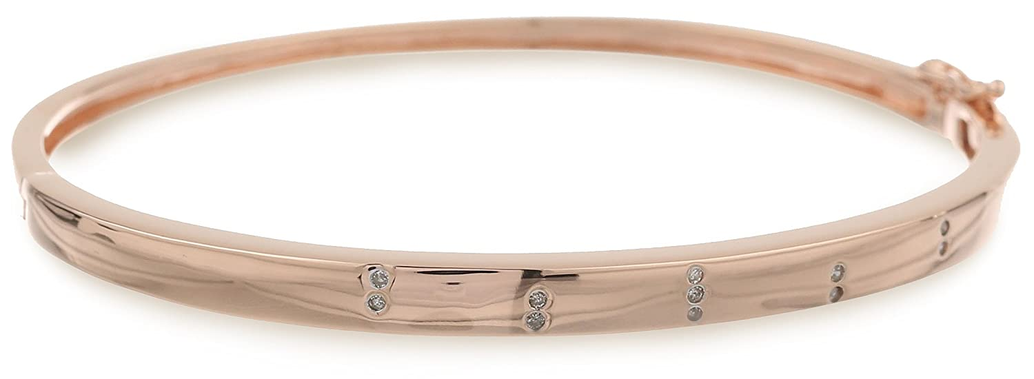 18k Rose Gold Over Sterling Silver 0.05 Cttw Diamond Bangle