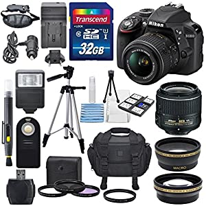 Nikon D3300 24.2MP CMOS Digital SLR Camera (BLACK) with AF-S DX NIKKOR 18-55mm f/3.5-5.6G VR II + HD 52mm Wide angle Lens & HD 52mm Telephoto lens + Total of 32GB SDHC Class10 Along with Deluxe Accessory Kit