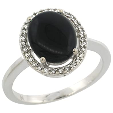 9ct White Gold Diamond Halo Natural Black Onyx Ring Oval 10X8 mm, sizes J - T