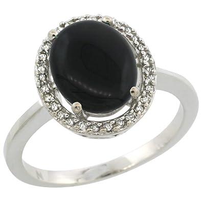9ct White Gold Diamond Halo Natural Black Onyx Ring Oval 10X8 mm, sizes J - T