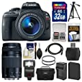 Canon EOS Rebel SL1 Digital SLR Camera & EF-S 18-55mm IS STM (Black) & 75-300mm III Lens + 32GB Card + Case + Flash + Battery & Charger + Tripod Kit