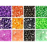 Halloween Colors Pony Bead 12 Pack Variety, 12 Colors, 6x9mm, 300 grams (about 1200 beads)
