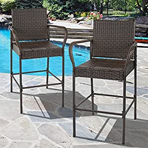Best choice products set of 2 outdoor brown wicker barstool outdoor patio furniture Home bar furniture amazon