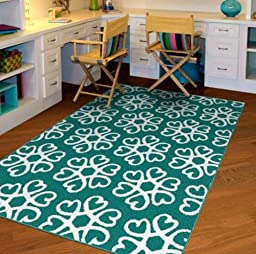 5\'x7\' NXT-GEN Hearts Medallion Olefin Teal & White Easy To Clean Stain Resistant Area Rug