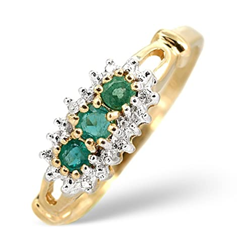 TheDiamondStore | Ring - Emerald 0.27ct Diamond 0.02ct - 2.5mm Band Width - 9K Yellow Gold