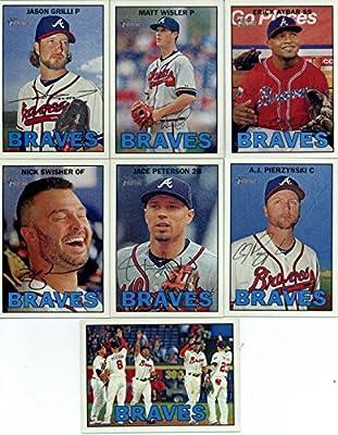 2016 Topps Heritage Atlanta Braves Team Set of 13 Cards: Jason Grilli(#33), Matt Wisler(#98), Erick Aybar(#113), Nick Swisher(#135), Jace Peterson(#147), A.J. Pierzynski(#193), Nick Markakis(#250), Fredi Gonzalez(#268), Atlanta Braves(#356), Arodys Vizcai