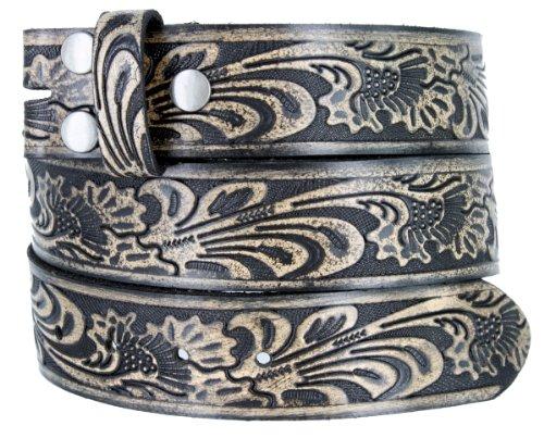 """BS220 Western Floral Embossed Vintage Soft Genuine Leather Belt Strap 1.5"""" Black 34"""