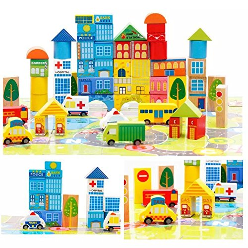 City Wooden Building Blocks Stacking Set Toys For Kids (Wooden Building Fun Set compare prices)