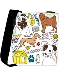 Snoogg I Love Dogs Vector Doodles Set Womens Carry Around Cross Body Tote Handbag Sling Bags