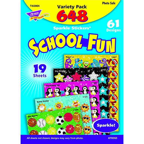 Trend Enterprises School Fun Sparkle Stickers Variety Pack (T-63904)