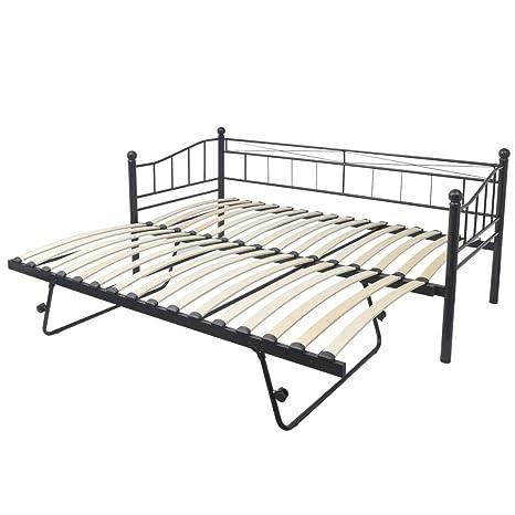 Festnight Frame bed Divano letto Telaio letto 211 x 100 x 95 cm in acciaio di metallo nero e Bianco