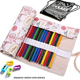 E'Plaza Canvas Sketching Drawing Pencil Wrap Pouch Roll Up Case Holder Storage Bag (72 inserting, love Paris)
