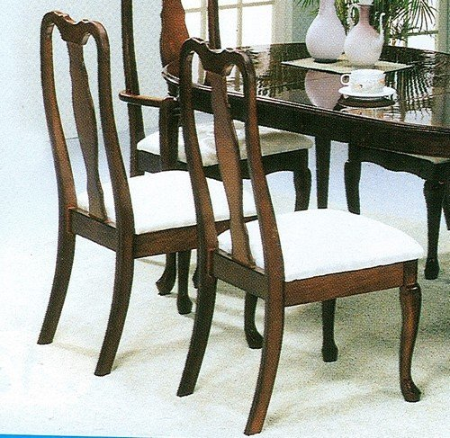 Set of 2 cherry finish queen anne style dining chairs for Queen anne style kitchen
