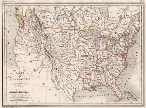 Usa: Ca Nv Ut Az Nm Texas In Mexico; Part Of Bc In Usa. Malte-Brun;C1846 Map