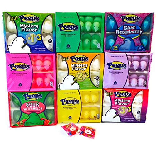 It's All About Those Chicks Easter Peeps Bundle - Includes 11 Items - All 3 Packs Mystery Peeps, Blue Raspberry, Watermelon, Pink, Purple, Yellow, Green, Plus Two Single Size Pack Easter Candy is safe to include in your child's Gluten Free Easter Basket!