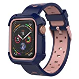 UMTELE Compatible for Apple Watch 1/2/3/4 Case with Band 44mm/42mm/40mm/38mm, Shock Proof Bumper Case with Soft Silicone Sport Band Compatible with Apple Watch Series 4 44mm (Color: Blue/Pink, Tamaño: 44mm)
