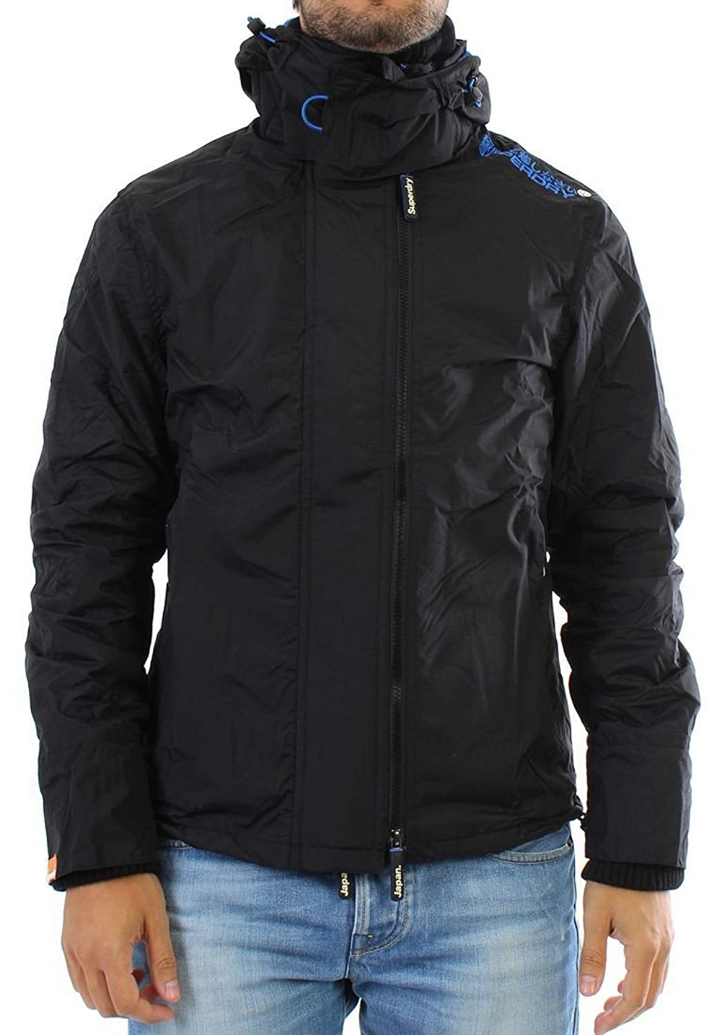 Superdry Windbreaker Men - POP ZIP HOODED ARCTIC - Black-Royal