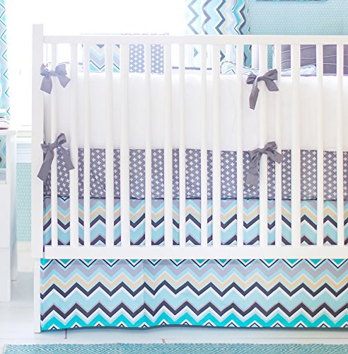 New Arrivals 4 Piece Crib Bed Set, Piper in Gray