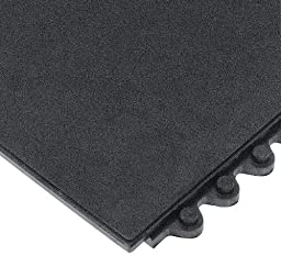 Wearwell Nitrile Rubber 570 24/Seven Anti-Fatigue Solid Mat, for Wet Areas, 3\' Width x 3\' Length x 5/8\