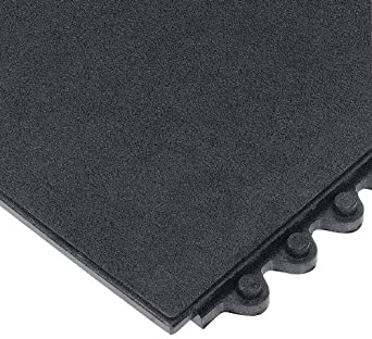 "Wearwell Natural Rubber 570 24/Seven Anti-Fatigue Grease Resistant Solid Mat, for Dry Areas, 3' Width x 3' Length x 5/8"" Thickness, Black"