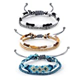 Braided Woven Handmade Friendship Bracelet for Women Mexican Thread Macrame String Adjustable Cord Ethnic (Color: 3Pcs(Mixed #2 ))