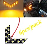 (Pack of 6) Yellow 14 SMD LED Arrow Panel For Car Rear View Mirror Indicator Turn Signal Light Car LED Rearview Mirror Light