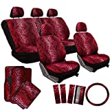 OxGord 21pc Leopard Seat Cover & Floor Mat Set for the Oldsmobile Delta 88 Coupe in Red Leopard Print
