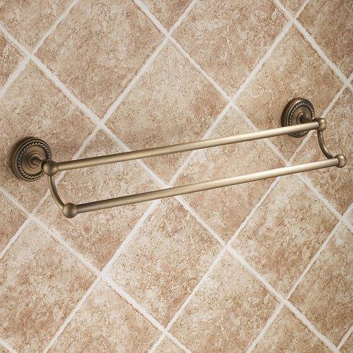 Ouku® Wall Mount Lavatory Bath Shower Accessories Antique Elegance Double Bars Brass Bathroom Towel Bar Bronze Towel Racks Shelf Free Standing Towel Shelves Bars Holder Robe Hooks Racks front-867236