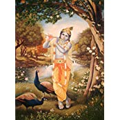 Exotic India Krishna The Divine Musician - Oil On Canvas