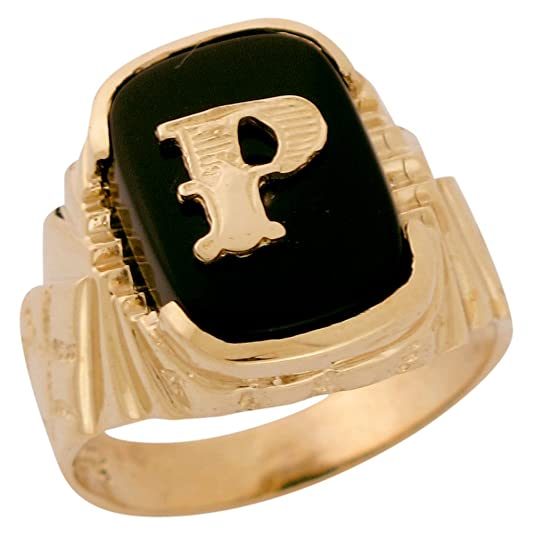 14ct Solid Gold Fancy Nugget Design Onyx Letter P Mens Initial Statement Ring