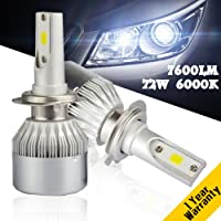 Yumseen COB Chip 72W Auto Car H7 LED Headlight Kit Bulbs