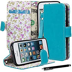 E LV Deluxe PU Leather Wallet Stand Case Cover for iPhone 5C with 1 Stylus and 1 Clear Screen Protector (Turquoise)