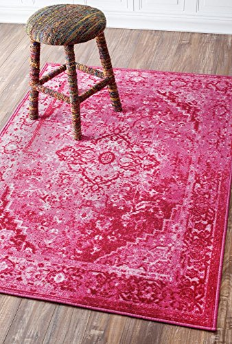 Traditional Vintage Inspired Overdyed Fancy Pink Area Rugs, 4 Feet 1 Inch by 6 Feet (4' 1