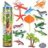 Acekid Mini Ocean Animal Figure Toys Animal Action Figure Set Of 12